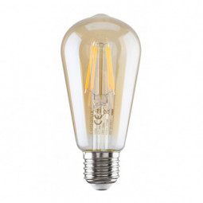 Levné LED diodové žárovky: Filamentová LED žárovka, E27, ST58, 6W, 510lm, teplá bílá