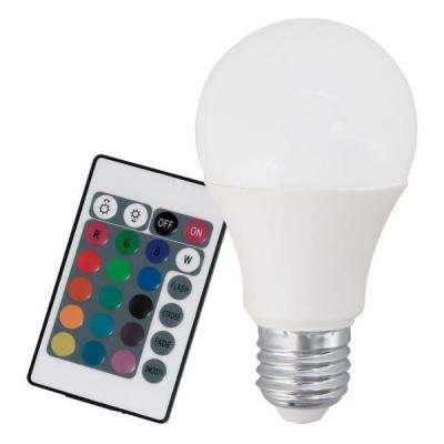 Levné Žárovky a zářivky: Chytrá LED-RGB žárovka s ovladačem, A60, E27, 9 W