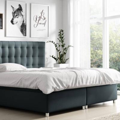 Levné Čalouněné dvojlůžka: Boxspringové čalouněná postel Diana černá Eko kůže 160 + Topper zdarma