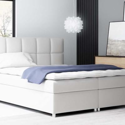 Levné Čalouněné dvojlůžka: Boxspringové čalouněná postel Tina bílá Eko kůže 160 + topper zdarma