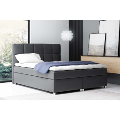 Levné Čalouněné dvojlůžka: Boxspringové čalouněná postel Tina černá Eko kůže 160 + topper zdarma