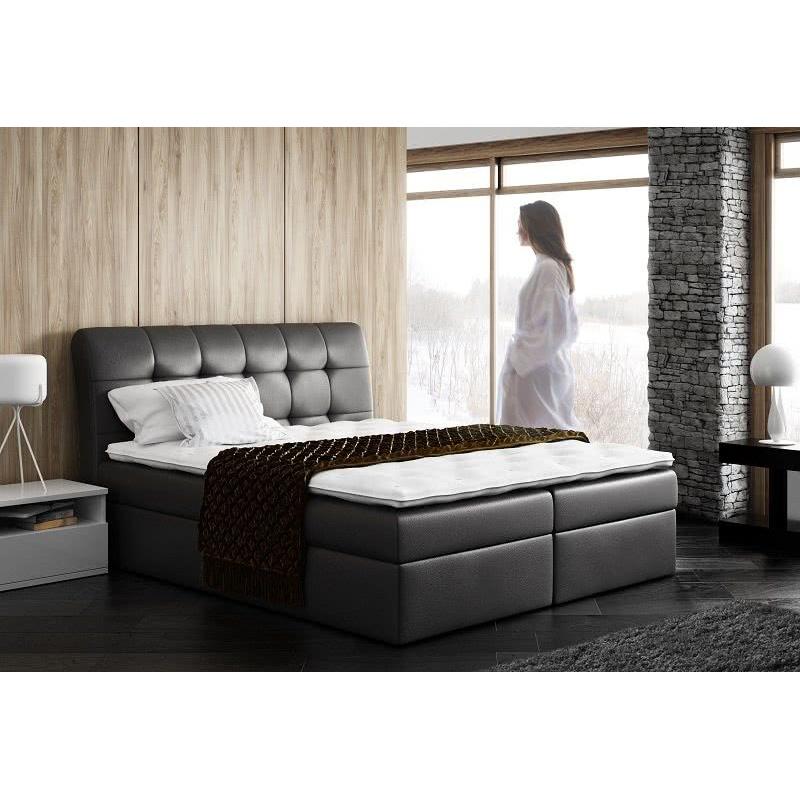 Levné Manželské čalouněné postele: Čalouněná manželská postel Sára černá Eko kůže 180 + topper zdarma