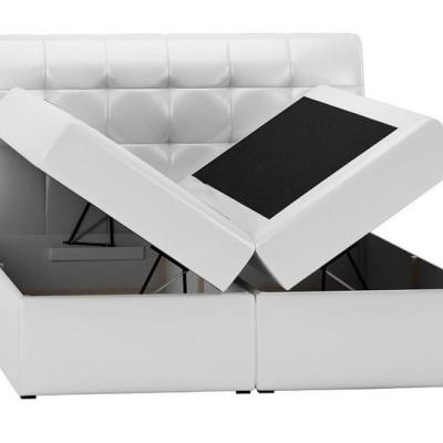 Levné Čalouněné dvojlůžka: Boxspringové čalouněná postel Sára bílá Eko kůže 160 + topper zdarma