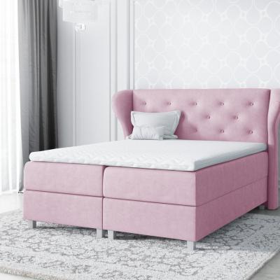 Levné Manželské čalouněné postele: Velká čalouněná postel Eveli růžová 200 + Topper zdarma