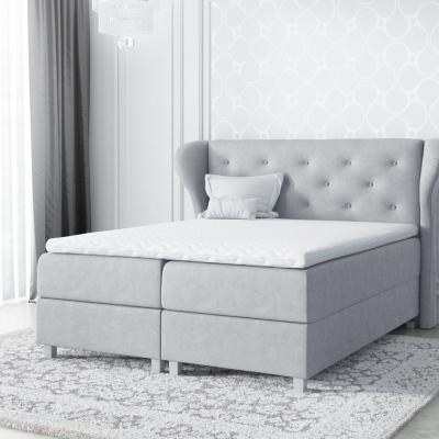 Levné Manželské čalouněné postele: Velká čalouněná postel Eveli šedá 200 + Topper zdarma