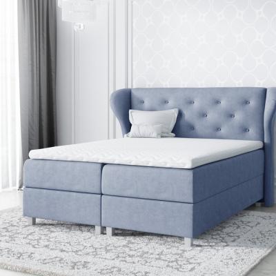 Levné Manželské čalouněné postele: Velká čalouněná postel Eveli modrá 200 + Topper zdarma