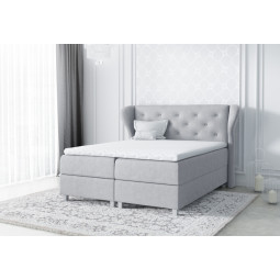 Levné Manželské čalouněné postele: Čalouněná manželská postel Eveli šedá 180 + Topper zdarma