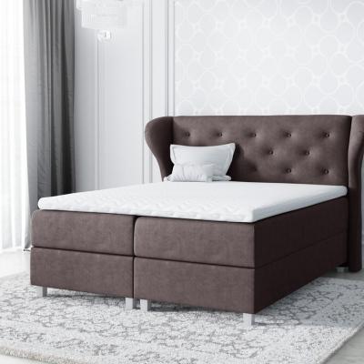 Levné Boxspringové postele: Boxspringové čalouněná postel Eveli hnědá 160 + Topper zdarma