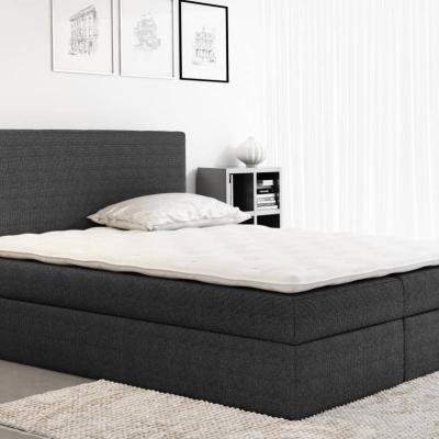 Levné Manželské čalouněné postele: Čalouněná manželská postel Ella černá 180 + Topper zdarma