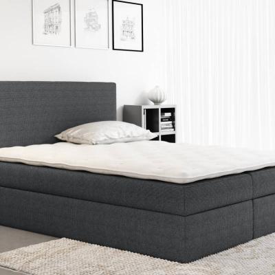 Levné Manželské čalouněné postele: Čalouněná manželská postel Ella šedá 180 + Topper zdarma