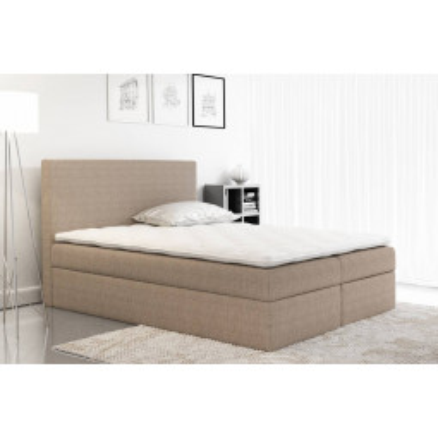 Levné Manželské čalouněné postele: Čalouněná manželská postel Ella hnědá 180 + Topper zdarma