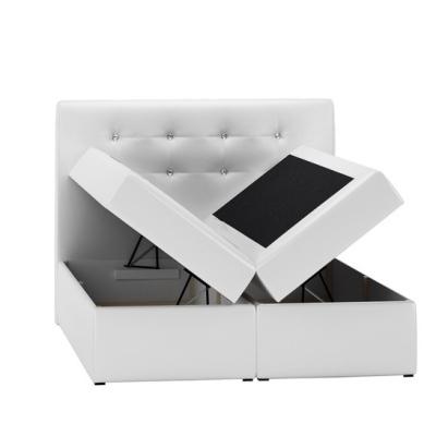 Levné Boxspringové postele: Boxspringové čalouněná postel Ella šedá 160 + Topper zdarma