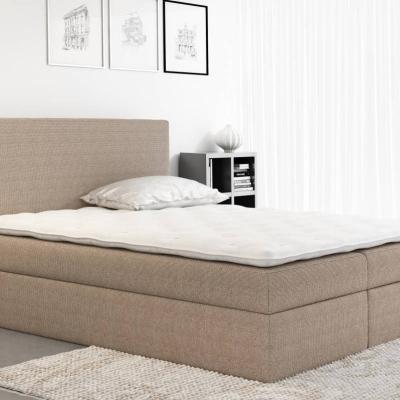 Levné Boxspringové postele: Boxspringové čalouněná postel Ella hnědá 160 + Topper zdarma