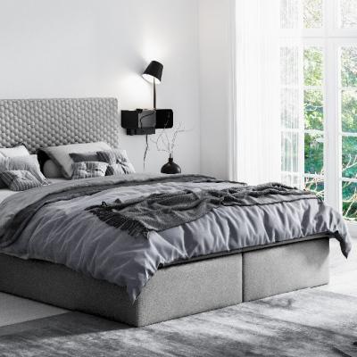 Levné Jednolůžkové čalouněné postele: Moderní čalouněné jednolůžko Alessio šedé 140 + topper zdarma