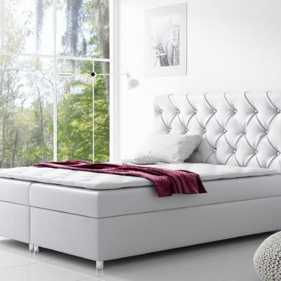 Levné Jednolůžkové čalouněné postele: Čalouněná postel s úložným prostorem Vivien bílá eko kůže 140 + topper zdarma