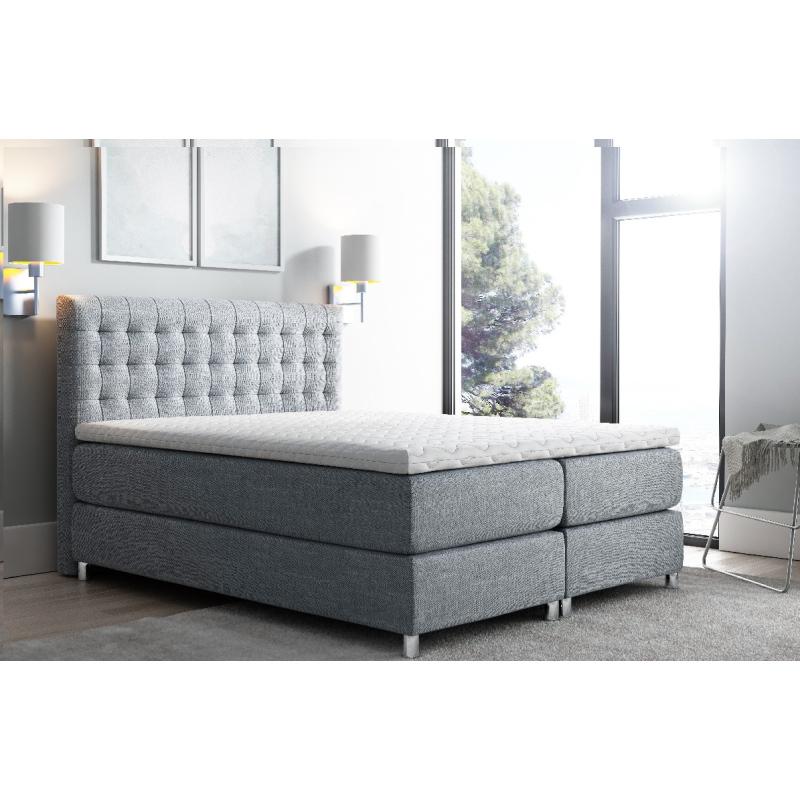 Levné Manželské čalouněné postele: Vysoká čalouněná postel boxspring Luca tmavě šedá 180 + topper zdarma