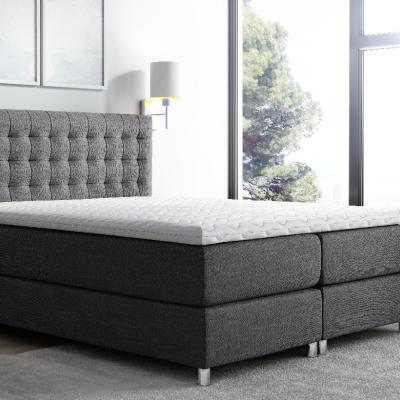 Levné Jednolůžkové čalouněné postele: Vysoká čalouněná postel boxspring Luca antracit 140 + topper zdarma