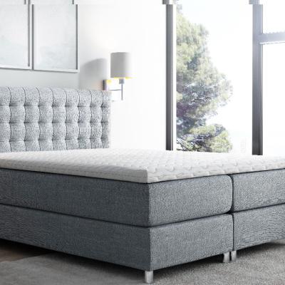 Levné Jednolůžkové čalouněné postele: Vysoká čalouněná postel boxspring Luca tmavě šedá 140 + topper zdarma