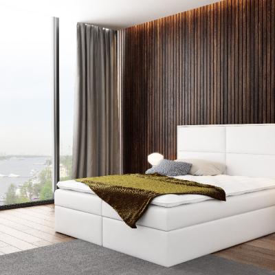 Levné Manželské čalouněné postele: Čalouněná postel Gery bílá eko kůže 180 + topper zdarma