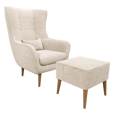Levné Křesla do obývacího pokoje: Čalouněné křeslo ušák s taburetem OMAR VIII