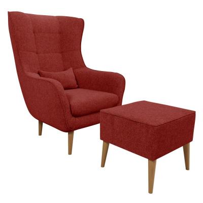 Levné Křesla do obývacího pokoje: Křeslo ušák s taburetem OMAR XI