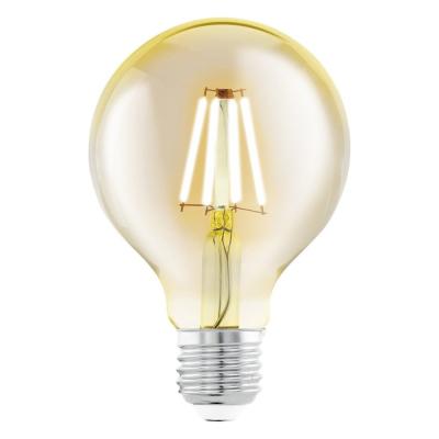 Levné LED diodové žárovky: Retro LED filamentová žárovka EGLO, E27, G80, 4W, 320lm, 2200K, teplá bílá