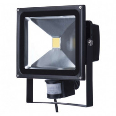 Levné LED halogeny (reflektory): LED reflektor HOBBY s PIR, 30W neutrální bílá