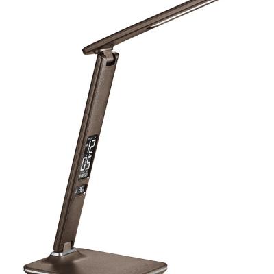 Levné Stolní LED lampy: Solight LED stolní lampička s displayem, hnědá