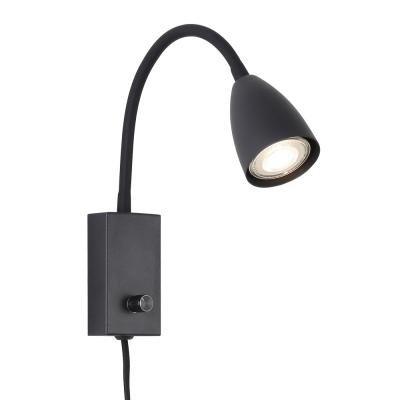 Levné Osvětlení: Nástěnná flexibilní lampa s vypínačem MIKA, černá