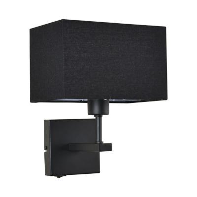Levné Nástěnná svítidla: Nástěnná lampa s vypínačem NORTE, černá, hranatá