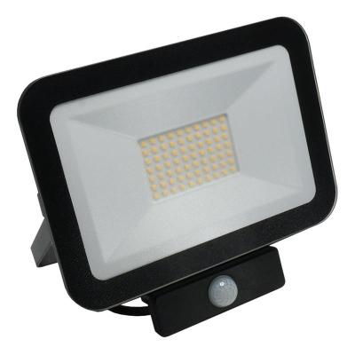 Levné LED halogeny (reflektory): LED nástěnný reflektor s čidlem, 50W, IP65, 4000K, neutrální bílá, černý