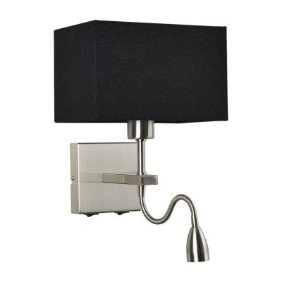 Levné Nástěnná svítidla: Nástěnná lampička s vypínačem a LED zdrojem NORTE, černá, hranatá