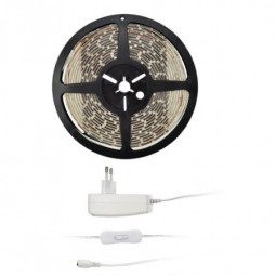 Levné Stropní svítidla: Solight LED světelný pás s adaptérem, 5m, studená bílá