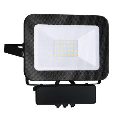 Levné LED halogeny (reflektory): LED nástěnný reflektor s mikro senzorem, 20W, IP65, 4000K, neutrální bílá, černý