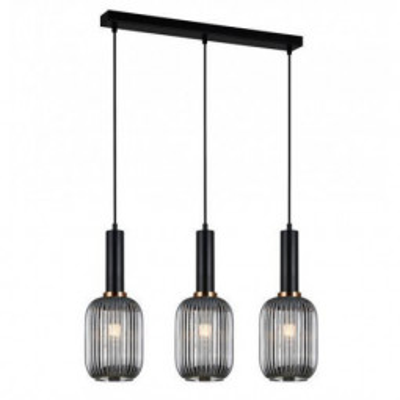 Levné Lustry a závěsná svítidla: Závěsné světlo nad jídelní stůl ANTIOLA, černé, kouřové sklo