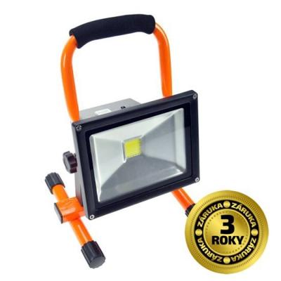 Levné Reflektory: LED reflektor, 20W, přenosný, nabíjjecí, 1600lm, oranžový