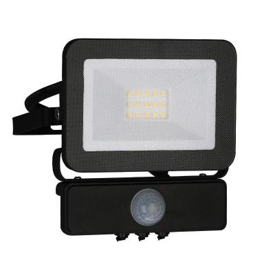 Levné LED halogeny (reflektory): LED nástěnný reflektor s čidlem, 10W, IP65, 4000K, neutrální bílá, černý