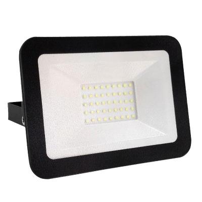Levné LED halogeny (reflektory): LED nástěnný reflektor, 30W, IP65, 4000K, neutrální bílá, černý