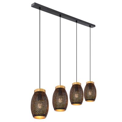 Levné Lustry a závěsná svítidla: Designový závěsný lustr nad jídelní stůl NARRI, černý, zlatý