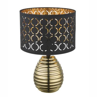 Levné Lampy a lampičky: Designová stolní lampa MIRAUEA, kulatá, černozlatá