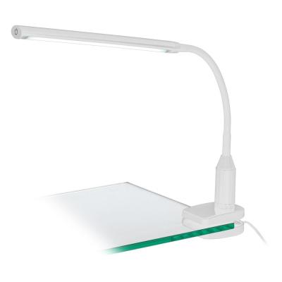 Levné Osvětlení: LED moderní stolní lampička s klipem LAROA, bílá