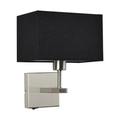 Levné Nástěnná svítidla: Nástěnná lampička s vypínačem NORTE, černá, hranatá