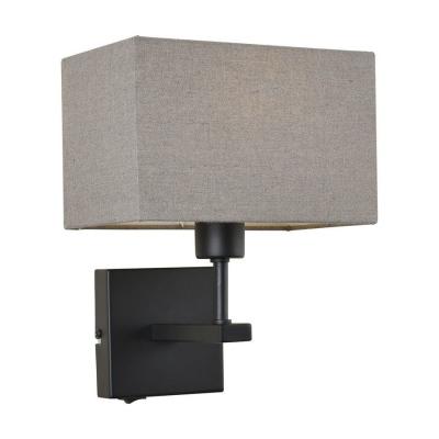 Levné Nástěnná svítidla: Nástěnná lampa s vypínačem NORTE, šedá, hranatá