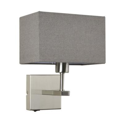 Levné Nástěnná svítidla: Nástěnná lampička s vypínačem NORTE, šedá, hranatá