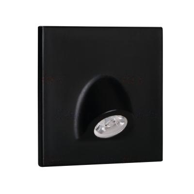 Levné Nástěnná svítidla: Vestavné LED osvětlení schodiště MEFIS, 3000K, 30lm, černé