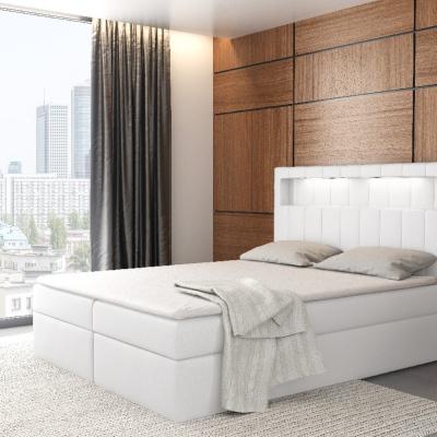 Levné Jednolůžkové čalouněné postele: Designové jednolůžko Elyan s úložným prostorem bílá eko kůže 140 x 200 + topper zdarma
