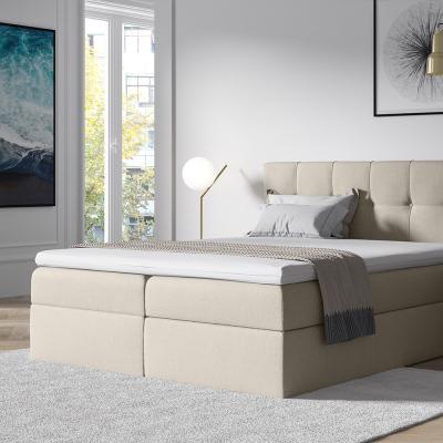 Levné Manželské čalouněné postele: Stylová manželská postel s úložným prostorem Recivio smetanová 180 + TOPPER