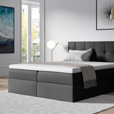 Levné Manželské čalouněné postele: Stylová manželská postel s úložným prostorem Recivio tmavě šedá 180 + TOPPER