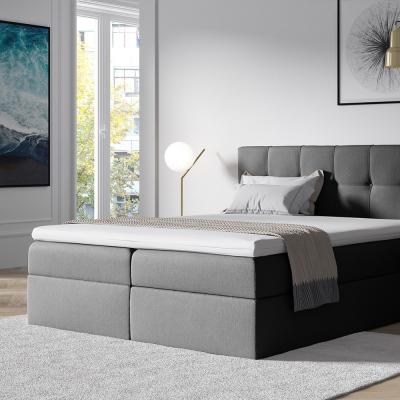 Levné Manželské čalouněné postele: Stylová manželská postel s úložným prostorem Recivio šedá 180 + TOPPER