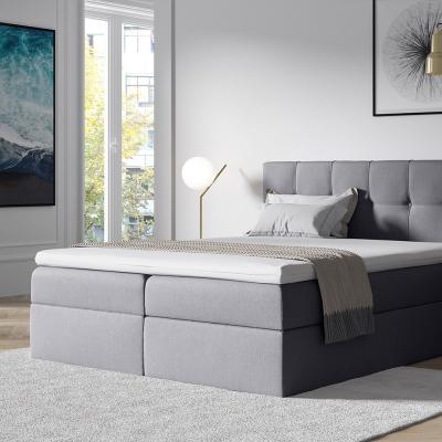 Levné Manželské čalouněné postele: Stylová manželská postel s úložným prostorem Recivio světle šedá 180 x 200 + TOPPER